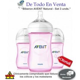 Teteros AVENT Natural 9oz Rosados - Set 3 Unds.