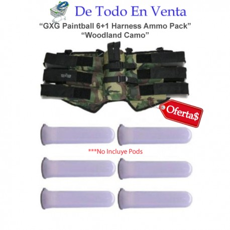 GXG Paintball 6+1 Harness Ammo Pack - Woodland Camo