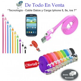 Cable Plano de Datos / Cargador Iphone 5 / 5S / ios 7